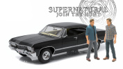 """1967 Chevrolet Impala Sport Sedan with Sam and Dean Figures """"Supernatural"""" (TV Series 2005) 1/18 by Greenlight 19021"""