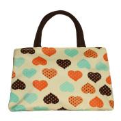ZXKE Cartoon Hearts Lovely Women Handbags Portable Picnic Bags Lunch Bag Tote