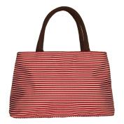ZXKE Striped Women Handbags Portable Picnic Bags Lunch Bag Tote