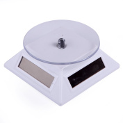 HDE Solar Powered Rotating Rotary Display Stand Turntable Collectible Show Case - Silver