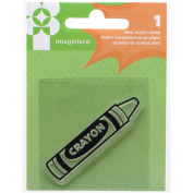 American Crafts Family Fun Crayon Acrylic Stamp, 5.1cm by 5.1cm , Clear
