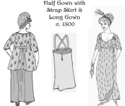 19th Century Half Gown with Strap Skirt & Long Gown Pattern