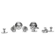Silver Tone & White Cufflinks & 6 Stud Set