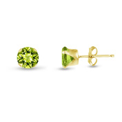 Round 5mm Genuine Peridot Stud Earrings (1 cttw) Sterling Silver, 14k Yellow or Rose Goldplate