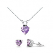 Sterling Silver Simulated Amethyst Heart Necklace & Earrings Se t- 41cm to 46cm