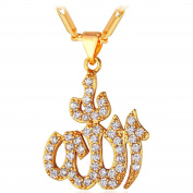 Cubic Zirconia Allah Pendant Necklace 18K Gold Plated Mulsim Jewellery