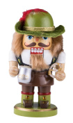 Traditional Wooden Chubby German Nutcracker by Clever Creations | Wearing Lederhosen with Mug | Festive Christmas Decor | 18cm Tall Perfect for Shelves and Tables