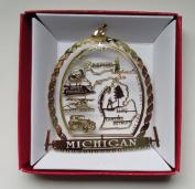 Michigan State ORNAMENT Detroit Flint Great Lakes Lansing Travel Souvenir Gift