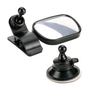 FEE Kids Automotive Safety Back Seat Rear View Mirror, Multiple Baby Universal Car Blind Spot Mirror with Clip & Sucker, Easy to Watch Your Children in the Car, Black Colour