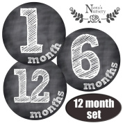 SALE! Baby Chalkboard Monthly Stickers - Great Registry Keepsake for Babies, Baby Boy or Girl Shower Gift Idea or Milestone Photo Prop - Easy to Peel, Stick, Shoot and Remove from Clothing and Onesies
