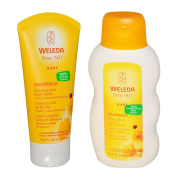Weleda All Natural Organic Calendula and Almond Gentle Baby Shampoo & Baby Wash and Baby Lotion Bundle With Chamomile and Cocoa Butter for Extra Moisture, Organic Ingredients, 200ml each