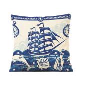 Sailboat 46cm *46cm Cotton Linen Throw Pillow Cover Home Decorative Pillowcase Cushion Cover
