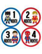 Months in Motion 808 Monthly Baby Stickers Superhero Baby Boy Month 1-12 Milestone Age Sticker Photo Prop