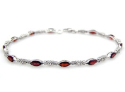 Collection : 7.85ctw Genuine Garnet Marquise & .925 Sterling Silver Bracelet
