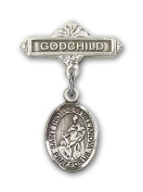 ReligiousObsession's Sterling Silver Baby Badge with St. Thomas of Villanova Charm and Godchild Badge Pin