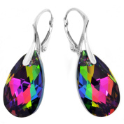 Sterling Silver Green Yellow Pink Made with. Crystals Teardrop Earrings for Women