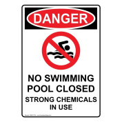 ComplianceSigns Vertical Plastic OSHA DANGER No Swimming Pool Closed Strong Chemicals In Use Sign, 25cm X 18cm . with English Text and Symbol, White