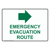 ComplianceSigns Plastic Emergency Evacuation Route [ Right Arrow ] Sign, 25cm X 18cm . with English Text and Symbol, White