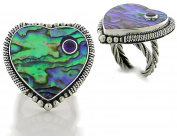 Abalone Heart Sterling Silver Ring with Amethyst