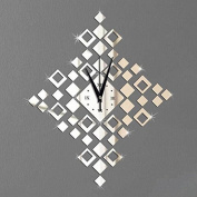 JinRou Modern European and American Drill the small square decorative wall sticker clock crystal mirror wall clock clock room decoration ideas wall clock , silver