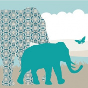 "Wallpaper Border Children ""Hello Africa"" Beige/Turqoise/Blue"