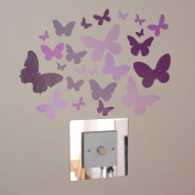 24 Butterfly Pink Lilac Indoor or Outdoor Wall Art Stickers on a Sheet of A4
