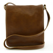 Man Leather Bag Colour Cognac - Leather Goods Made In Italy - Man Bag