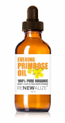 Organic EVENING PRIMROSE OIL by Renewalize in LARGE 100 ml. DARK GLASS BOTTLE with Glass Pipette   Highest Quality , Cold Pressed Unrefined Oil   All Natural Moisturiser for Luxurious Hair , Skin and Nails