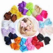16pcs Boutique Girls 13cm - 14cm Big Hair Clips Grosgrain Ribbon Pinwheel Hair Bow Clips Children Hair Clips Girls Clips