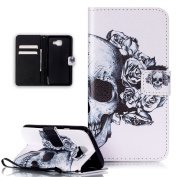 Galaxy A3 2016 Case,Galaxy A3 2016 Case Wallet,ikasus Beautiful Art Painted Pattern Flip PU Leather Fold Wallet Pouch Case Premium Leather Wallet Flip Case with Stand Credit Card ID Holders Case Cover for Samsung Galaxy A3 (2016) SM-A310F,Black White F ..
