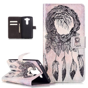 LG V10 Case,LG G4 Pro Case, ikasus Campanula Feather Leaves PU Leather Fold Wallet Pouch Case Premium Leather Wallet Flip Stand Credit Card Holders Case Cover for LG G4 Pro / G4 Note / LG V10,H