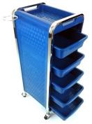 Salon Storage Trolley - Blue - Hairdresser Barber Hair Beauty Drawers Spa Cart