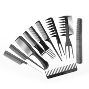 HOT QUEEN'S Pack of 10 Pieces Beauty Comb for Beauty Tools Black