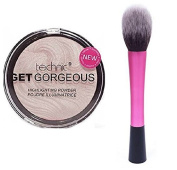 Technic Get Gorgeous Highlighting Powder 12g + LyDia® Red Hot Pink Fluffy Flawless Face Makeup Brush
