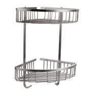 Konhard CS002 Solid Stainless Steel Bathroom Shower Caddy 2-Tier Wall Mount, Brushed Steel