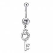 Bling Stars Dangle Belly Button Ring Heart Key Clear Crystal Navel Ring