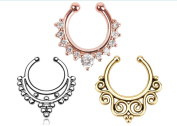3pcs HOT Unisex Clip On Septum Fake Nose Ring Hoop Non Piercing Hanger Nose Rings Tribal Fan Rhinestone Clicker Body Jewellery