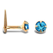9ct Yellow Gold Light Blue Clear Stone Hinged Nose Stud