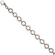 Bracelet made of stainless steel rose gold plated two colours 21 cm