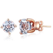Fine Solid 14K Rose Gold Stud 2.5 Ct Natural Clear Topaz Earrings