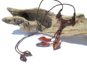 PANDORESECRETS - Adult Braid Macrame Necklace Agate Glamorous and Red Real