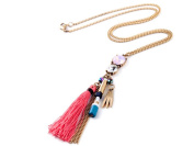 Remi Bijou Large Statement Necklace in Gold with Pink Rhinestones - Tassel Pendant