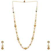 24k Gold Plated Golden Rhodolite Beads and Pearl Studded Traditional Chain Set With Earrings