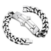 Stainless Steel Bracelet Silver Cross Solid Stainless Steel for Men and Women