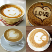 Funnytoday 16Pcs Kitchen Dining & Bar Cappuccino Coffee Barista Stencils Template Strew Flowers Pad Duster Spray