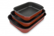 Menax - Roaster Trays - Aluminium with Double Nonstick Coating - Set of 3 - Made in Italy