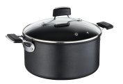 Lagostina Tempra Saucepan with 2 Handles and Lid in Glass, Multi-Layer Non-Stick Coating, Suitable For Induction Hobs, Aluminium, Black 20 Cm black