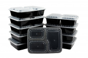 Yier® 3-Compartment Stackable Food Containers Meal Boxes with Lids Microwave, Dishwasher Safe And Reusable Lunch Box,Pack of 10