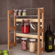 3 Tier Bamboo Spice / Herb Rack Wall Mountable or Kitchen Cupboard Storage