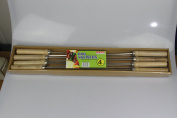 Tri-Star 8pc 54cm Stainless Steel BBQ Skewers 4mm with wooden handles